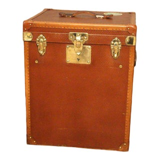 1930s French Tall Brown Canvas Hat Trunk, Hat Box For Sale