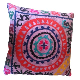 Lavender Embroidered Suzani Pillow