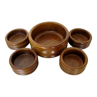 Vintage Teak Wood Salad Set