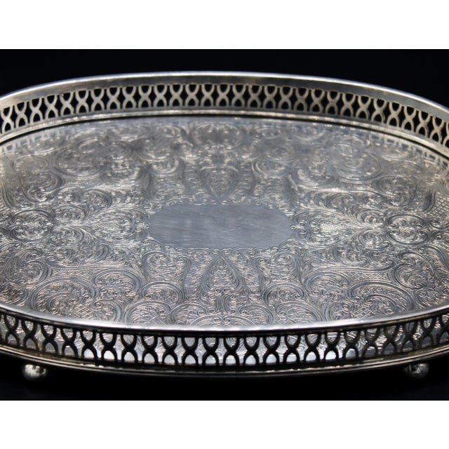 Art Deco English Silver Plate Handled Tray With Gallery For Sale - Image 11 of 13
