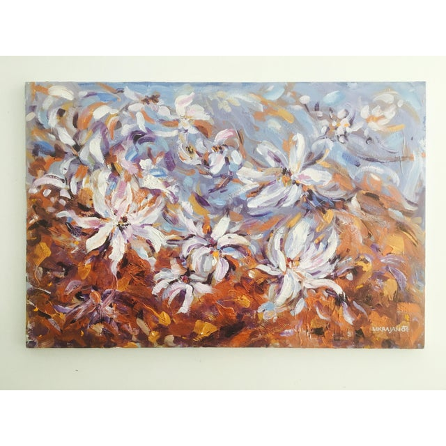 Large, lush impasto painting on canvas featuring botanicals. Acrylic, signed, no glass, stretched over a wooden frame, not...