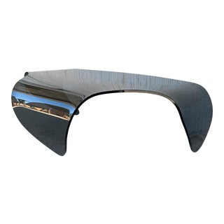 Mid Century Modern Sculptural Curved Blue Glass Table For Sale