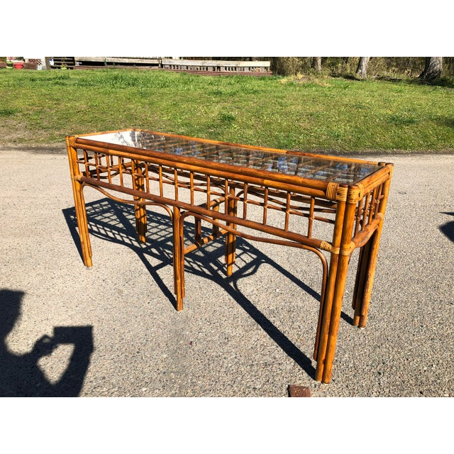 Brown 1970s Boho Chic Rattan Console For Sale - Image 8 of 9