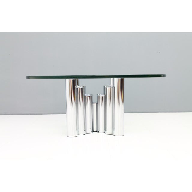 1980s Modern Coffee Table in Chrome & Glass 1970s For Sale - Image 5 of 11