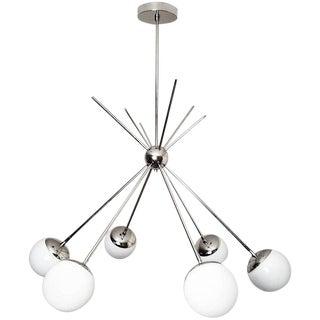 "Blueprint Lighting Model 220 ""Burst"" Chandelier in Polished Nickel and Glass For Sale"