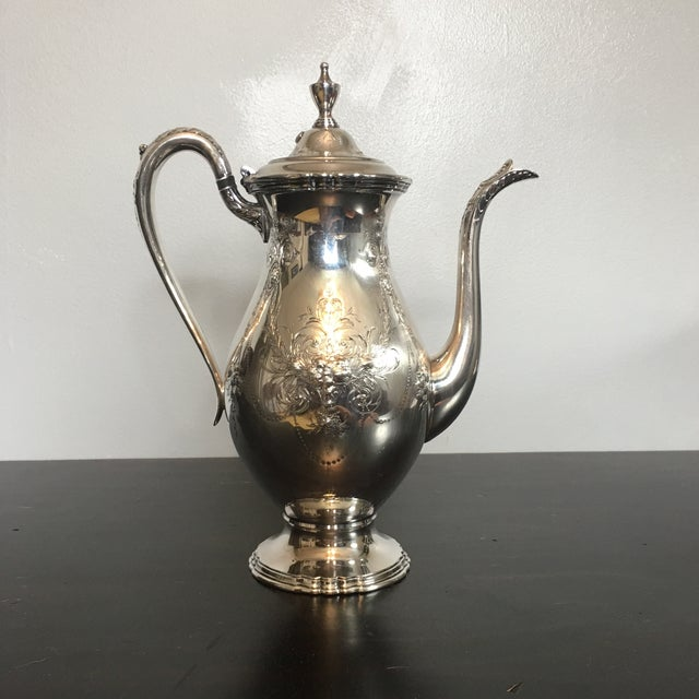 1930s Traditional Wilcox Hand Chased Silver Plated Coffee Pot For Sale - Image 13 of 13