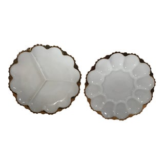 Milk Glass Egg and Divided Serving Plates - Set of 2 For Sale