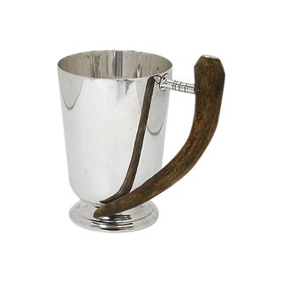 1940s Horn Handled Silver-Plate Tankard For Sale