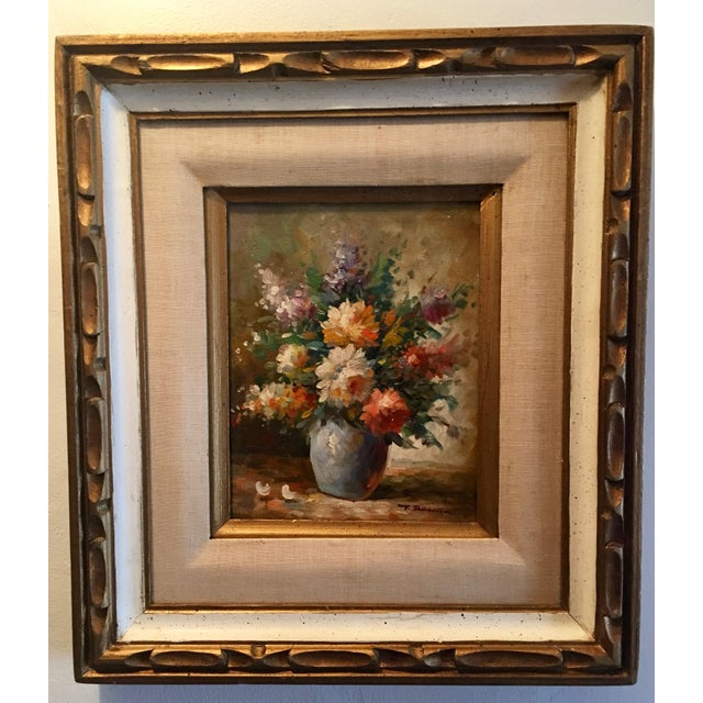 Floral Oil Painting of Dahlias & Other Flowers in a Blue Vase - Image 2 of 7