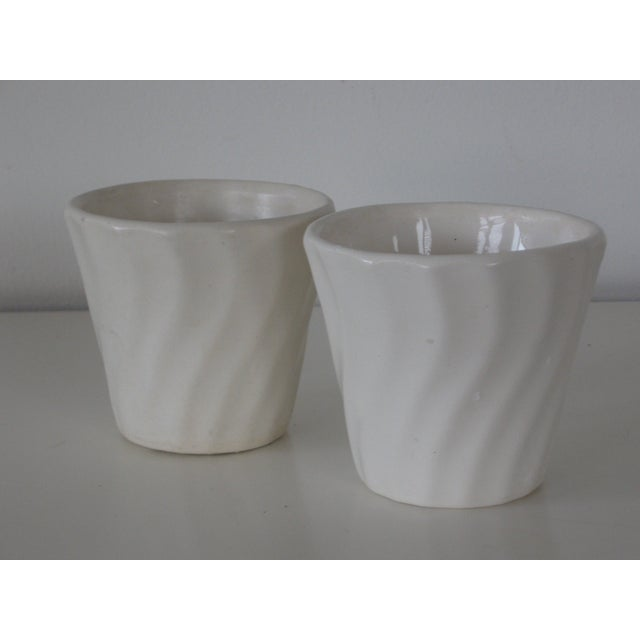 Small Matte White Bauer Swirl Planters - A Pair - Image 5 of 5