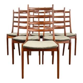 Set of 6 Danish Teak Ladder Back Dining Chairs Designed by Kai Kristiansen For Sale