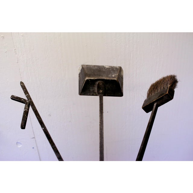 1970s Mid-Century Modern Wall Mounted Brass and Iron Fire Tools For Sale - Image 5 of 10