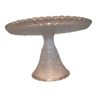 Early 20th Century Intricate Cut Glass Cake Stand For Sale