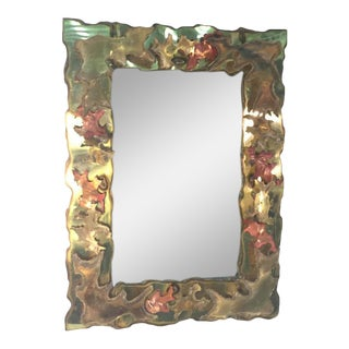 Brutalist Mixed Metals Torch Cut Wall Mirror For Sale