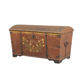 1845 Antique Swedish Painted Wedding Chest For Sale