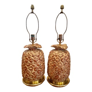 Pinecone Wooden Lamps - A Pair