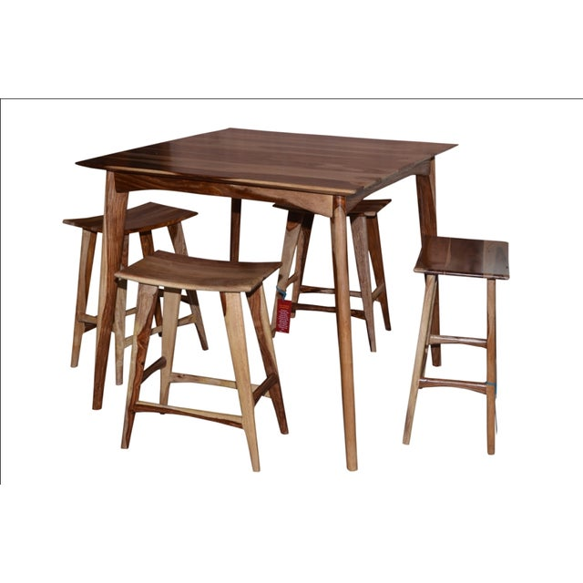 Wooden Bar Table & Stools - Set of 5 - Image 2 of 5