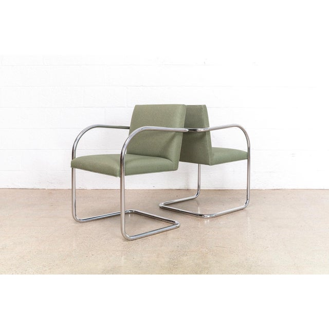 Green Mies Van Der Rohe Green Brno Chairs For Sale - Image 8 of 11
