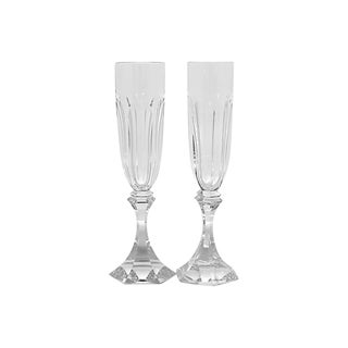 Vintage French St. Louis Toasting Flutes - a Pair For Sale
