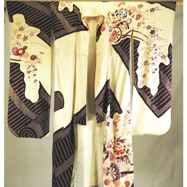 Vintage Silk Traditional Furisode Kimono - Image 4 of 9