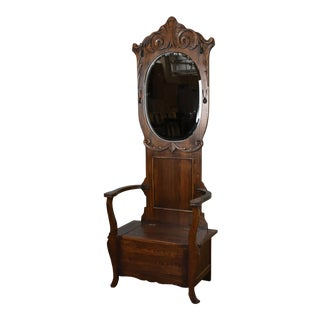 Crafters and Weavers Arts and Crafts Oak Hall Tree With Storage in Seat For Sale