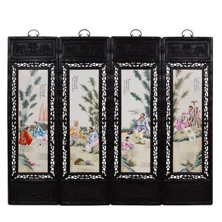 Antique Chinese Painted Porcelain Panels, Wall Hanging - Set of 4 For Sale