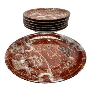 1980s Vintage Bergdorf Goodman Marbleized Plates- Set of 8 For Sale