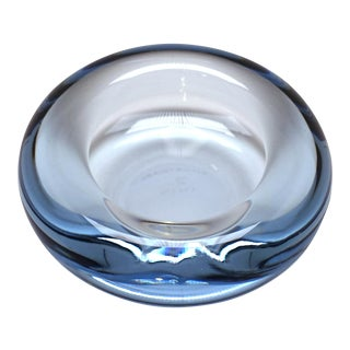 Holmegaard Per Lutken Mid-Century Modern Ice Blue Crystal Glass Dish Ashtray For Sale