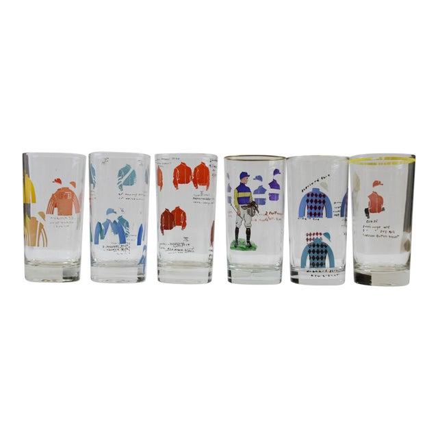 Hand-Painted Jockey Highball Glasses - Set of 6 For Sale