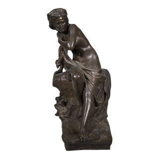 "Antonio Ugo [1870-1956] Italian Sculptor Classical Nude Woman ""susanna"" Circa 1910 For Sale"