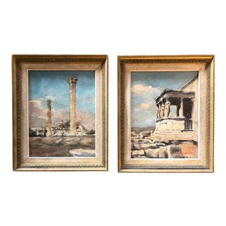 Vintage Greek Ruins Watercolor Paintings a Pair Signed For Sale