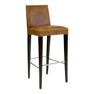 Contemporary Brown Leather Barstool With Black Hardwood Legs