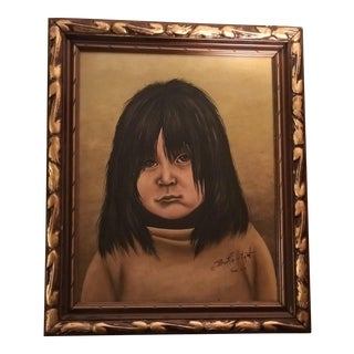 """1970s Bertie Hilgot """"Native Girl"""" Oil on Canvas Painting For Sale"""
