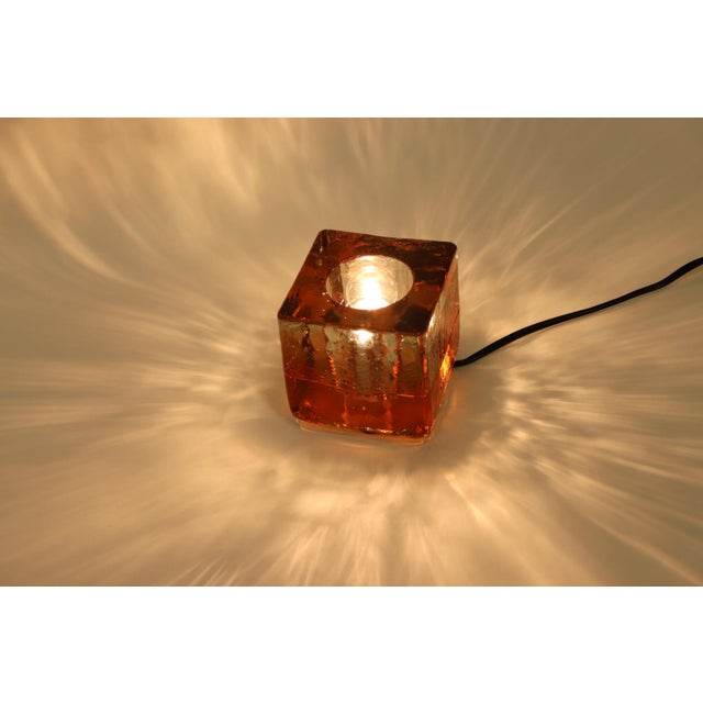 Transparent Orange Mid-Century Modern Murano Glass Table Lamp For Sale - Image 8 of 13