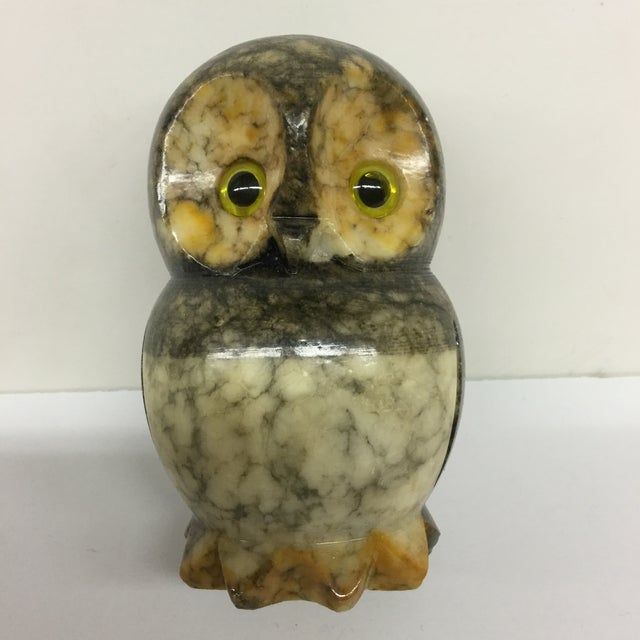 Hand carved alabaster owl made in Italy. In perfect condition this owl is definitely a hoot. His little eyes stare at you...