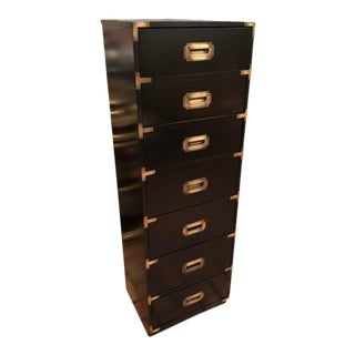 Black Campaign Brass Accent Highboy Chest For Sale