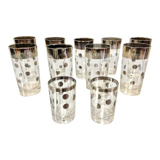 Dorothy Thorpe Silver Polka Dot Tumbler Glasses - Set of 11 For Sale
