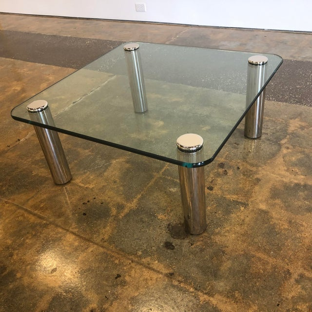 Mid-Century Modern 1970s Mid-Century Modern Marco Zanuso Glass and Steel Coffee Table For Sale - Image 3 of 6