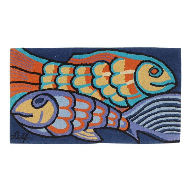 1970s Bold Fish Weaving Carpet Wall Decor For Sale