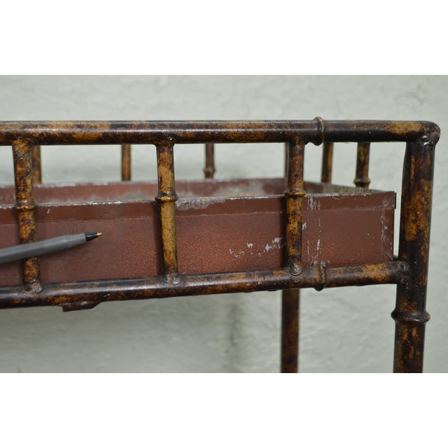 Faux Bamboo Metal Planter Console For Sale In Philadelphia - Image 6 of 10