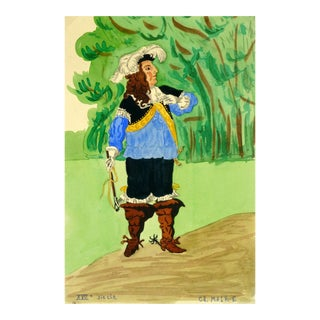 Vintage French Gouache Painting - a Proper Gent For Sale