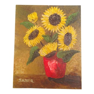Vintage Oil Painting of Sunflowers For Sale