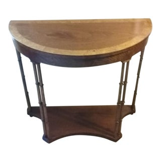 1980s Traditional Baker Furniture Demilune Table For Sale
