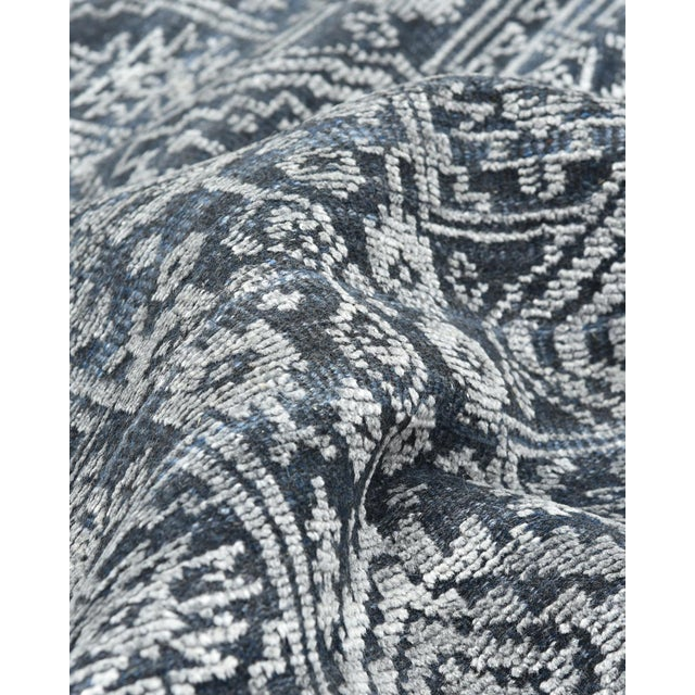 Quinn, Contemporary Transitional Hand-Knotted Runner Rug, Navy, 2' 6 X 8 For Sale In New York - Image 6 of 8