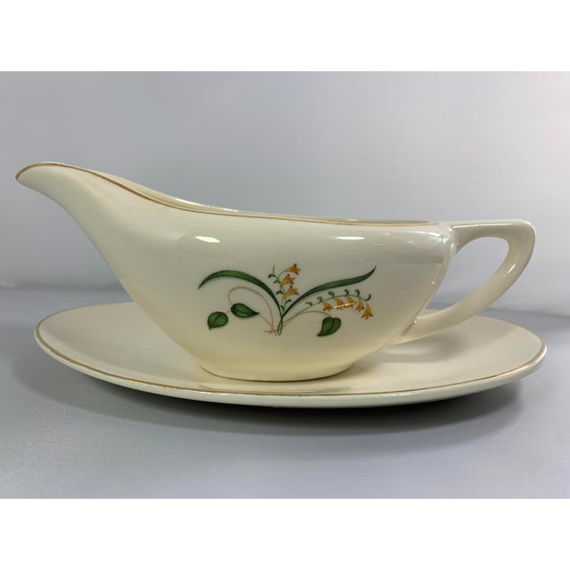 Mid-Century Modern Vintage Forsythia Pattern by Edwin Knowles China Company Dinnerware - 47 Piece For Sale - Image 3 of 13