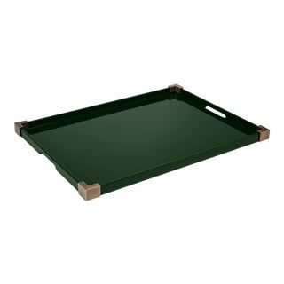Rita Konig for The Lacquer Company Corners Tray Brass in Bottle Green / Brass For Sale