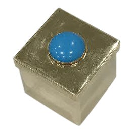 Turquoise Gemstone Brass Box For Sale