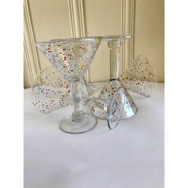 Festive handcrafted glassware with multicolored confetti glass design. Set of seven large blown glass martini, margarita...