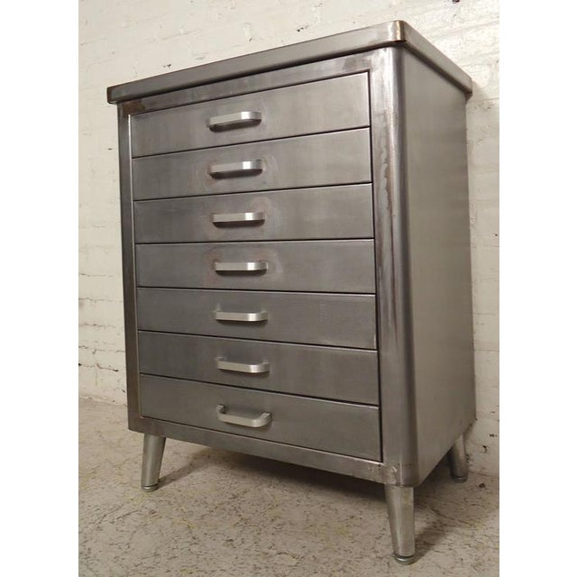 Metal Restored Vintage Factory Cabinet For Sale - Image 7 of 7