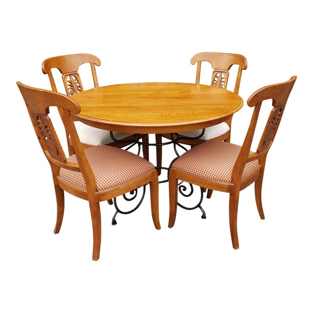 Ethan Allen Legacy Collection Maple Table W/ Wrought Iron Base & 4 Side Chairs C1990s For Sale